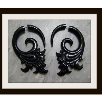 Fake Gauge Earrings ,Organic Black Horn, Split Gauge Earrings Fancy ,hand made,tribal style XL
