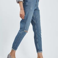 MOTO Blue Ripped Mom Jeans - Topshop