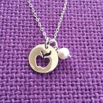 Teacher Gift - Teacher Necklace - Teacher Appreciation - Teacher Necklace - End of Year - Graduating Teacher Gift - Apple - Sterling silver