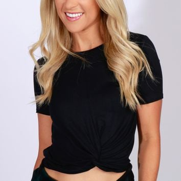 Twist Crop Top Black