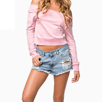 Pink Off The Shoulder Sweatshirt