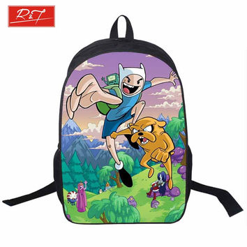 Adventure Time Backpack For Teenager Anime Monster High Backpacks Kids Schoolbags Boys Girls School Bags Daily Backpack Book Bag