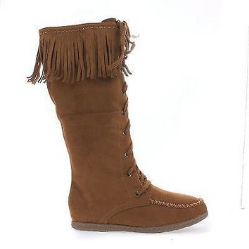 Vinery Tan By Soda, Knee High Fringe Lace Up Moccasin Flat Boots