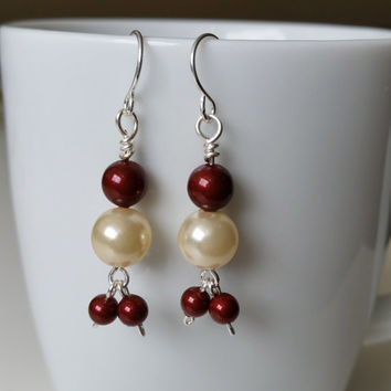 Santa Earrings Swarovski pearl earrings Holiday earrings Christmas Earrings Christmas gift