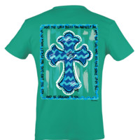 Itsa girl Thing Chevron Cross  May God Bless You Christian Bright Girlie T-Shirt