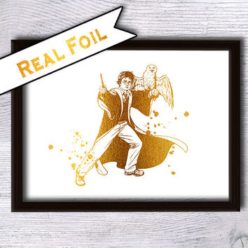 Harry Potter art poster Harry Potter and Hedwig print Real gold foil decor Harry Potter real foil art Home decoration Kids room decor G45
