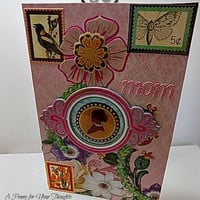 Vintage Themed Handmade Card for Mother. Ready to Ship.