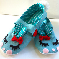 Sweet Kawaii Bunny Slippers Made to order all by MisfitMenagerie