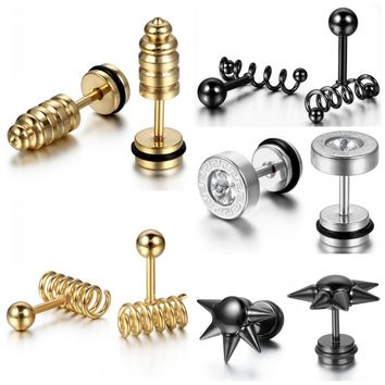 Stainless Steel Barbell Spike Screw Stud Earrings