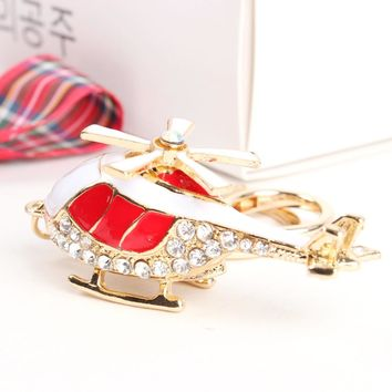 Mini Red Plane Helicopter Charm Pendant Lovely Crystal Purse Bag Car Keyring Key Chain Jewelry friend Creative Gift