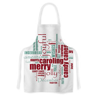 "Sylvia Cook ""Yuletide"" Christmas Typography Artistic Apron"