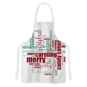 """Sylvia Cook """"Yuletide"""" Christmas Typography Artistic Apron"""