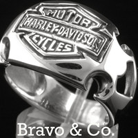 SIZE 13 Finely Made Solid Sterling Silver Harley Davidson Men Ring R-174