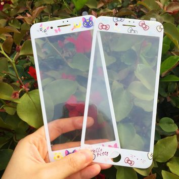 Disny Princess Mermaid Sailor Moon Print Carbon Fiber Front Screen tempered glass Protector For iPhone8 6S/7PLUS body Protection