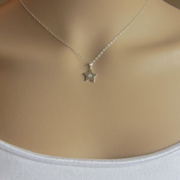 Tiny Shiny Sterling silver Star Necklace, All Sterling Silver Necklace, Dainty Necklace, Everyday Necklace, Minimalist,