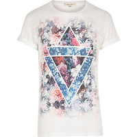 River Island MensWhite triangle floral print crew neck t-shirt
