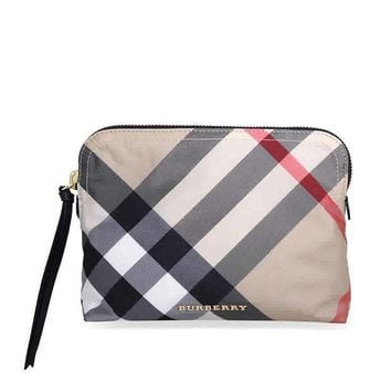 Burberry Large Zip Top Technical Pouch Camel