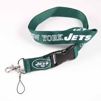 55cm USA Football DIY Hang Rope New York Jets Tag Mobile Phone Neck Strap Lanyard Detachable Camera ID Card Key Sling Band