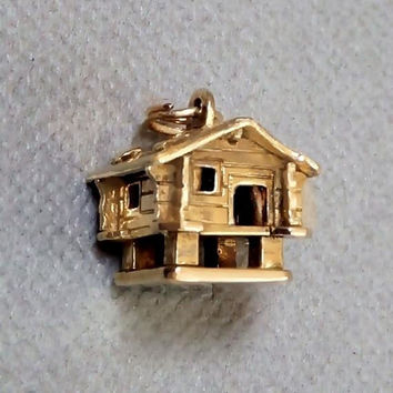 Vintage Bracelet CHARMS Gold Filled HOUSE Charm Country Log CABIN Pendant Congrats New Home Jewelry Housewarming Gift for Her c.1960's