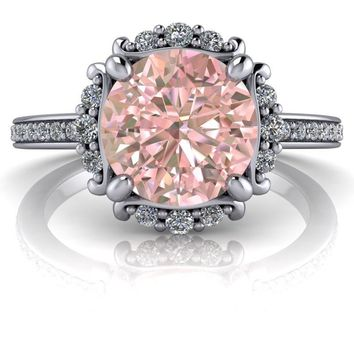 Round Morganite and Diamonds Halo Engagement Ring 2.00 CTW