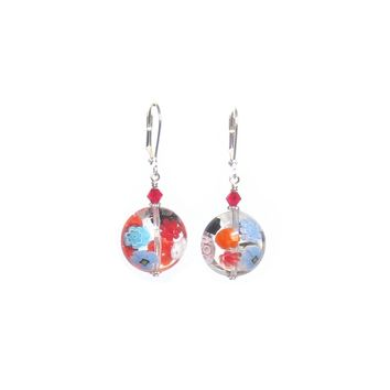 Murano Glass Clear Millefiori Disc Chunky Silver Earrings