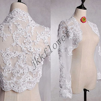 2015 White/ivory Long Sleeves Wedding Bridal Jacket,Lace Applique Bolero Jacket