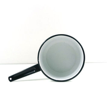 White enamel pan with black handle and rim, Saucepan, Enameled cookware, farmhouse kitchen