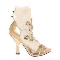 Dolce & Gabbana Gold Baroque Leather Pumps Booties Shoes