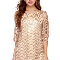 Golden Sequined Crochet Lace Mini Dress with Sleeve