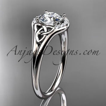 "platinum celtic trinity knot engagement ring, wedding ring with a ""Forever One"" Moissanite center stone CT791"