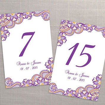 DIY Printable Wedding Table Number Template | Editable MS Word file | 4 x 6 | Instant Download | Purple Orange Henna Design