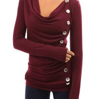 Wine Red Long Sleeve Ruched T-shirt