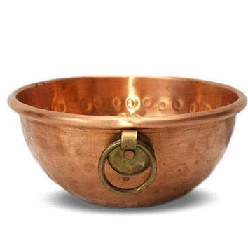 Hammered Copper Bowl Brass Ring Handle Vintage Planter Flower Pot Container Dish French Country Kitchen Table Accent Wall Hanging Decor