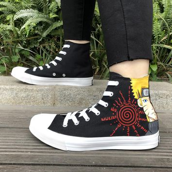 Wen Custom Design Anime Hand Painted Shoes Naruto Sabaku No Gaara Canvas Sneakers High Top Man Woman Plimsolls Graffiti Shoes