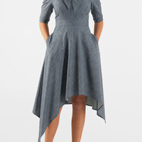 Asymmetric hem cotton chambray shirtdress