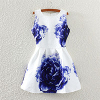 Peony Print Crew Neck Sleeveless Skater Dress