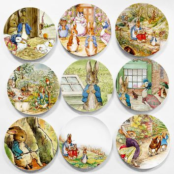 British designer Beatrix Potter The Tale of Peter Rabbit illustration painting plate Edible and home decor 8 inch flat dish