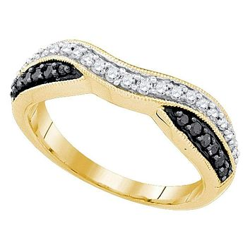10k Gold Black Round Pave-set Diamond Women's Anniversary Ring - FREE Shipping (US/CA)
