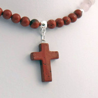 Red Jasper Stone Cross Pendant with Red Jasper and Rose Pink Quartz Necklace