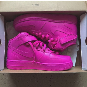 PINK Mid Nike Air Force 1 (Authentic Nike Custom Pink Painted Air Force Ones)