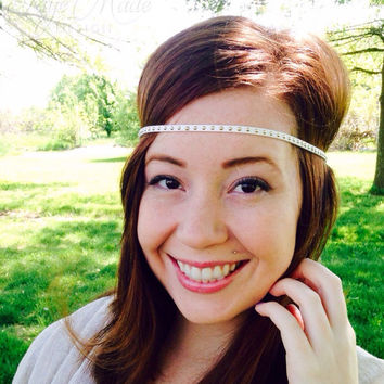 Boho Headband-Hippy Headband-Boho Hair Accessory-Head Wrap-Festival Headband-White Headband-Boho Style Hair Headband