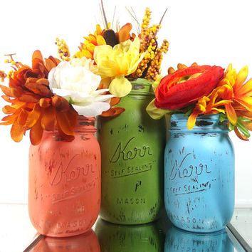 Decorative Mason Jars, Mason Jar Vase Set, Hand Painted Jars, Tabletop Centerpiece, Wedding Decor, Country Chic Decor, Hostess Gifts