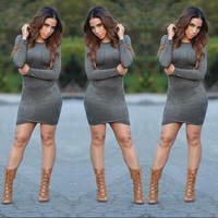 Women Faux Suede Bodycon Dress 2015 New Ladies Fall Long Sleeve Casual Elegant Sexy Club Party Dresses Femme Vestidos 489M