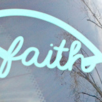 Faith Christian Fish Monogram Decal - Car Decal - Baptism - Church - Christian
