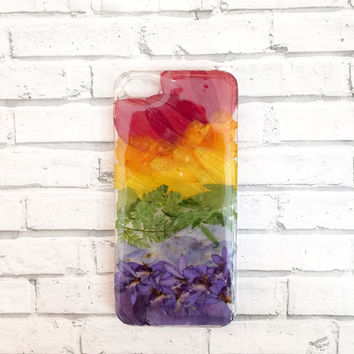 Pressed flower phone case iPhone 7 rainbow case multicolored | real pressed flower case | resin floral bumper case | custom gift