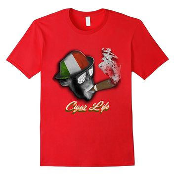 Cigar life monkey wearing italian flag hat T-shirt