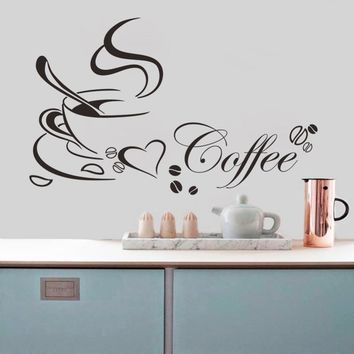 Coffee Cup Heart Kitchen Wall Sticker Quotes Living Room Restaurant Wall Decal Vinyl Wall Stickers Cuisine Home Decor Cafe Mural