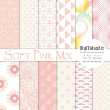 "Digital paper ""Soft Pink Mix"" digital clip art papers in pink, patterns, instant download, soft pink background"