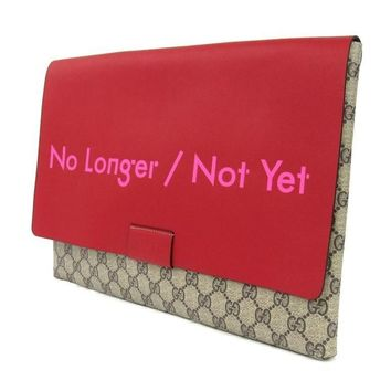 GUCCI ALESSANDRO MICHELE Limited red leather flap GG monogram clutch bag
