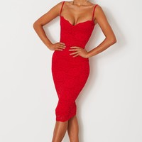 Paris Lace Midi Red